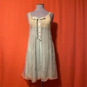 1950s Sears Blue Chiffon Layer Minidress Nightgown